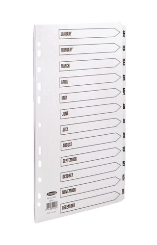 Concord Commercial Index Mylar-reinforced Europunched Jan-Dec Clear Tabs A4 White Code 09501