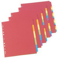 Concord Bright Subject Dividers Europunched 6-Part A4 Assorted Ref 50799