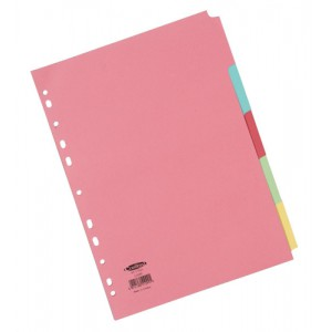 Concord Commercial Subject Dividers 5-Part A4 Assorted Code 51099
