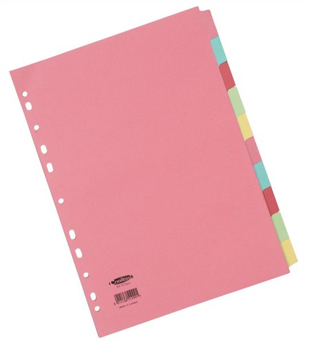 Concord Commercial Subject Dividers 10-Part A4 Assorted Code 51199