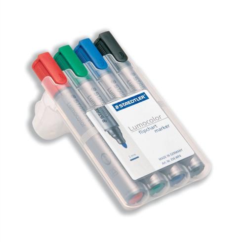 Staedtler Lumocolor Flipchart Markers Water-based Dry-safe Bullet Tip 2mm Assorted Ref 356WP4 [Pack 4]
