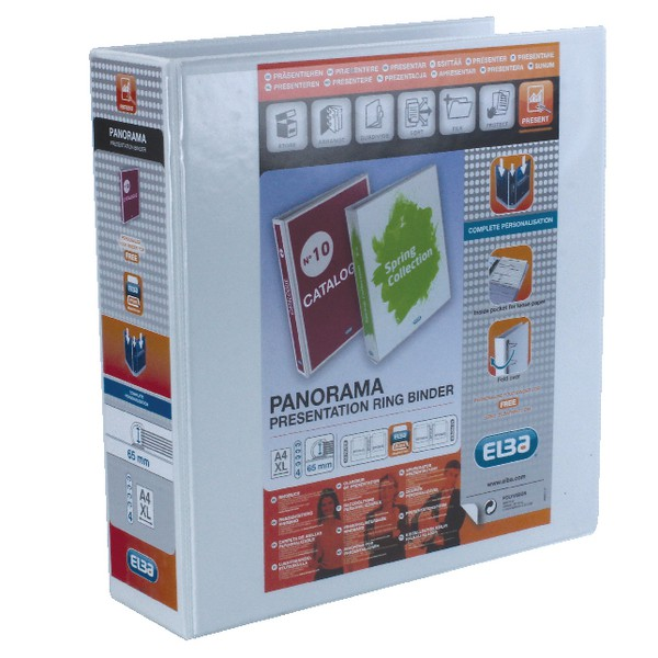 Elba Panorama Presentation Binder PVC 3 Cover Pockets 4 D-Ring 65mm A4 White Code 400001305