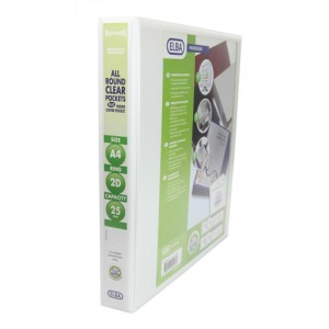 Elba Panorama Presentation Binder PVC 3 Cover Pockets 2 D-Ring 25mm A4 White Ref 400001398 [Pack 10]