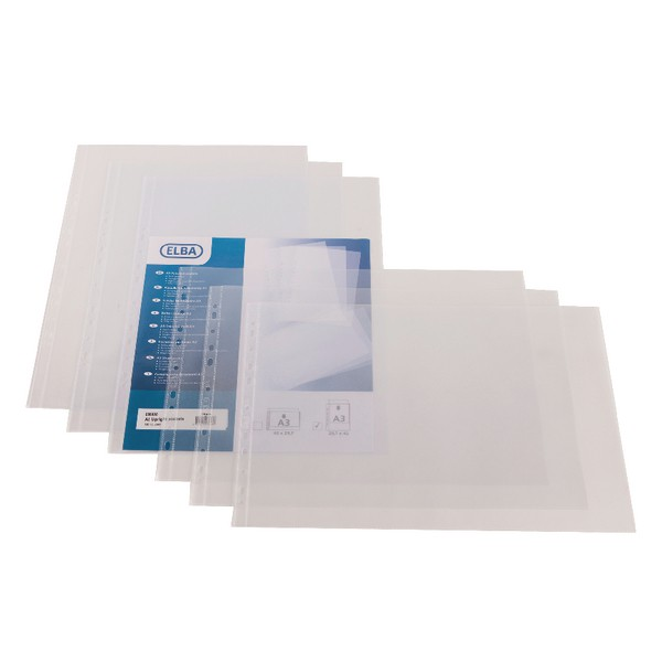Elba Pocket Polypropylene Multipunched Top-opening 120 Micron Oblong A3 Clear Ref 100080922 [Pack 25]