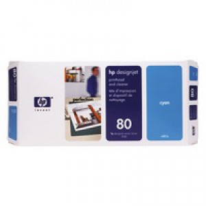 HP No.80 Printhead and Cleaner Cyan Code C4821A