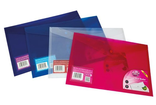 Pukka Stud Wallet File Translucent Polypropylene Foolscap Blue Pack 5