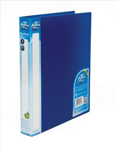 Pukka Natural Ring BInder Polypropylene 2 O-Ring 25mm Size A4 Blue Pack 10