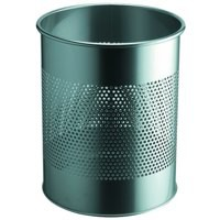 Durable Round Waste Bin Metal 15/P 165mm Silver Code 3310/23