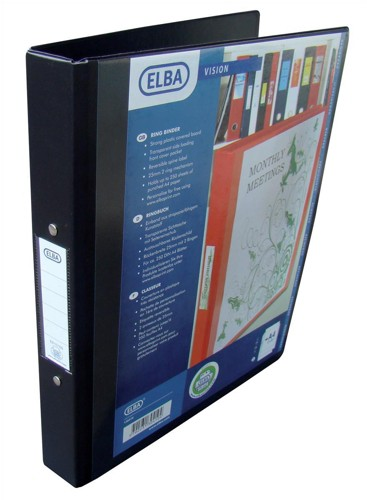 Elba Vision Ring Binder PVC with Clear Front Pocket 2 O-Ring Size 25mm A4 Black