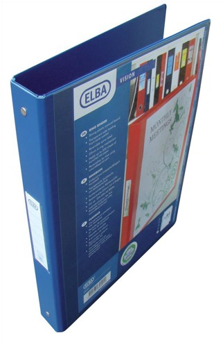 Elba Vision Ring Binder PVC with Clear Front Pocket 2 O-Ring Size 25mm A4 Blue Ref 100080886 [Pack 10]