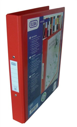 Elba Vision Ring Binder PVC with Clear Front Pocket 2 O-Ring Size 25mm A4 Red Pack 10