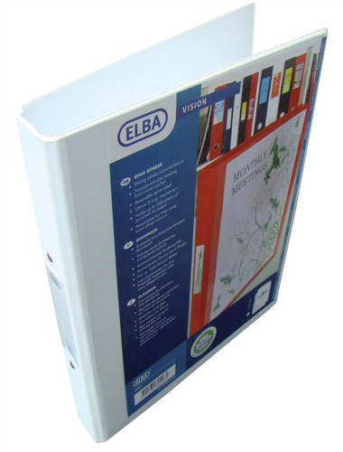 Elba Vision Ring Binder PVC with Clear Front Pocket 2 O-Ring Size 25mm A4 White Pack 10