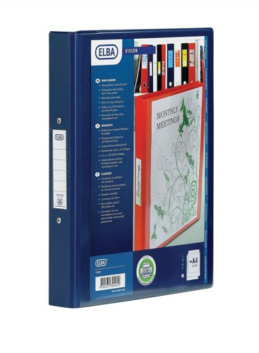 Emgee Ring Binder PVC with Clear Front Pocket 4 O-Ring Size 25mm A4 Blue Code 590101