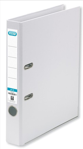 Elba Mini Lever Arch File PVC 50mm Spine A4 White Ref 100082434 [Pack 10]