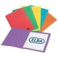 Elba Bright Folder Square Cut Recycled Heavyweight 290gsm Foolscap Assorted Ref 100090142 [Pack 25]
