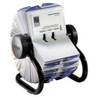 Rolodex Classic 200 Rotary Business Card Index with 200 Sleeves 24 A-Z Index Tabs Black Code 67236