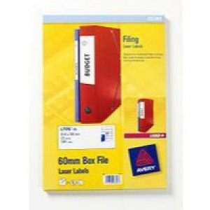 Avery Laser and Inkjet Filing Labels for 60mm Box Files 12 per Sheet 41x100mm Ref L7176-25 [300 Labels]