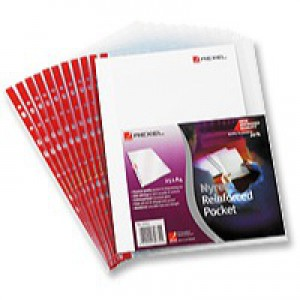 Rexel Nyrex Pocket Reinforced Red Strip Side-opening Foolscap Clear Ref 12263 [Pack of 25]