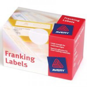 Avery Franking Labels 140x38mm Hand Feed Machines 2 Per Sheet White 1000 Labels Code FL01