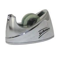 Sellotape Tape Dispenser Small Desktop Non-slip Roll Capacity 19mm Width 33m Length Chrome Ref 4529