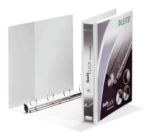 Leitz Premium SoftClick Presentation Ring Binder A4 PVC 4 D-Ring 30mm White