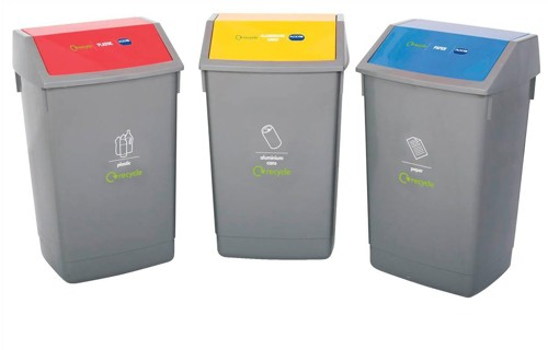 Recycle Kit 3x 54L Bins with Coded Lids