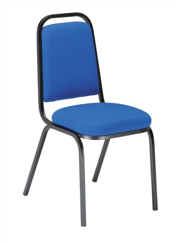 Trexus Banqueting Chair Upholstered Stackable Seat 390x390x460mm Blue with Black Frame