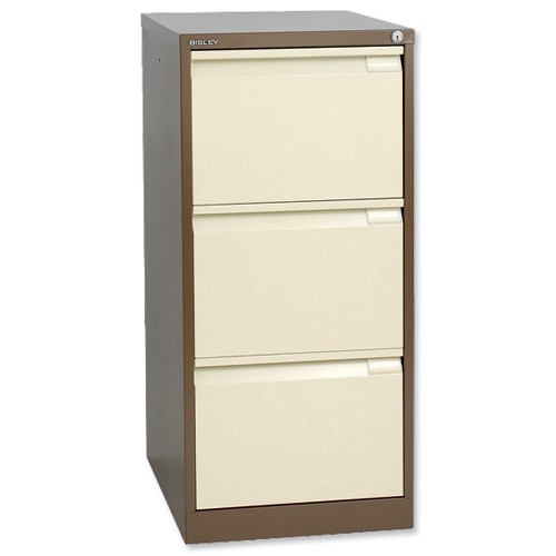 Bisley BS3E Filing Cabinet 3-Drawer H1016mm Brown and Cream Ref BS3E-0506