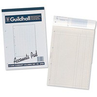Guildhall Account Pad 8 Summary Column 298x210mm 60 Sheet Punched 4 Holes