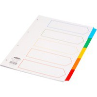 Concord 5 Part Multicoloured Index A4 Coloured Mylar Tabs CS6 Code 00601