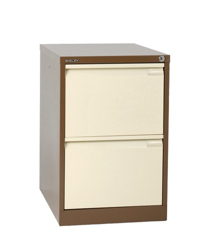 Bisley BS2E Filing Cabinet 2-Drawer H711mm Brown and Cream Ref BS2E-0506