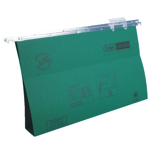 Elba Merlin Suspension File Manilla with Tabs and Inserts Foolscap Green Pack 50