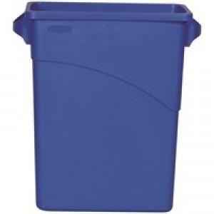 Rubbermaid Slim Jim Recycling Bin with Handles 279x587x630mm 60 Litres Blue Code 3541-73-BLU