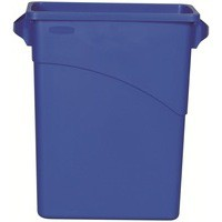Rubbermaid Slim Jim Recycling Bin with Handles W279xD587xH630mm 60 Litres Blue Ref 3541-73-BLU