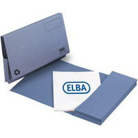 Elba Document Wallet Half Flap 285gsm Capacity 32mm Foolscap Blue Ref 100090126 [Pack 50]