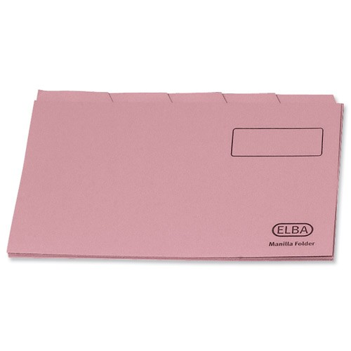 Elba Tabbed Folders Recycled Heavyweight 285gsm Set of 5 Foolscap Pink Ref 100090236 [Pack 20]