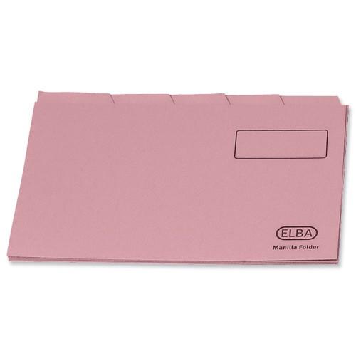 Elba Tabbed Folder Recycled Heavyweight 290gsm Foolscap Pink