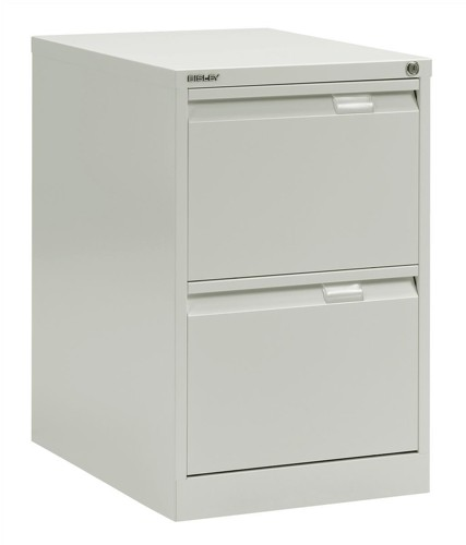Bisley BS2E Filing Cabinet Flush Front 2 Drawer White