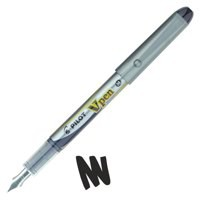Pilot VPen Disposable Fountain Pen Black Ink Metallic Grey Barrel SV4W-01