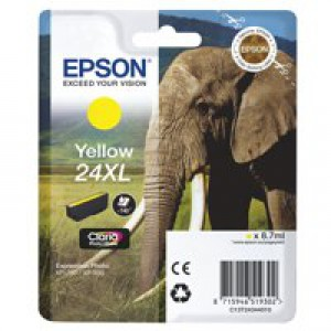 Epson 24XL Elephant Claria Photo HD Ink Yellow T2434