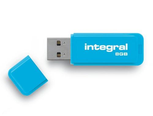 Integral Neon Flash Drive USB 2.0 8GB Blue Ref INFD8GBNEONB