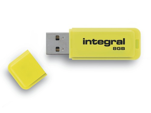 Integral Neon Flash Drive USB 2.0 8GB Yellow Ref INFD8GBNEONYL