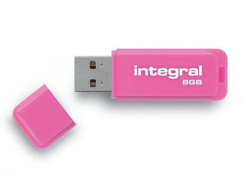 Integral Neon Flash Drive USB 2.0 8GB Pink Ref INFD8GBNEONPK