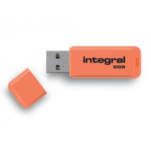 Integral Neon Flash Drive USB 2.0 8GB Orange Ref INFD8GBNEONOR