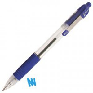 Zebra Z-Grip Retractable Ball Pen Metal Clip Medium 1.0mm Tip 0.6mm Line Blue Ref 22220 [Pack 12]