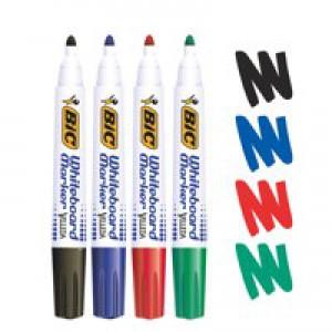 *Bic Velleda Whiteboard Marker Bullet Tip Assorted Colours Wallet of 4 017040 (K5)