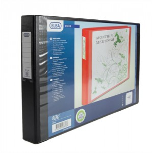 Elba Vision Ring Binder PVC Front Pocket 2 O-Ring A3 Landscape Black Ref 100082459 [Pack 2]