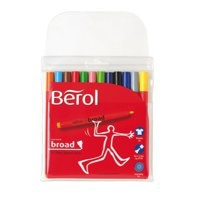 *Berol Colourbroad Pen Assorted Water Based Ink Wallet of 12 CB12W12 S0375410 V-EX25
