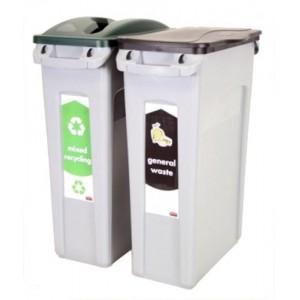 Rubbermaid Slim Jim 2 Stream Recycling Starter Pack Ref 1876489
