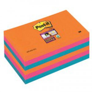 Post-it Super Sticky Colour Notes Pad 90 Sheets Electric Glow76x76mm Ref 654-6SS-EG [Pack 6]